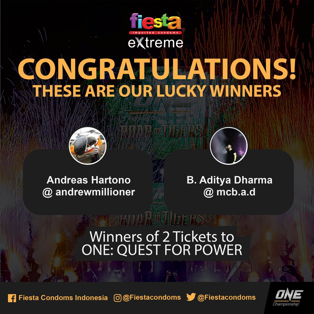 Fiesta Condoms On Twitter Congratulations Ini Dia Pemenang 2tiket Kondom Extreme One Quest For Power So Get Ready To Enjoy The Match Guys See You Tomorrow