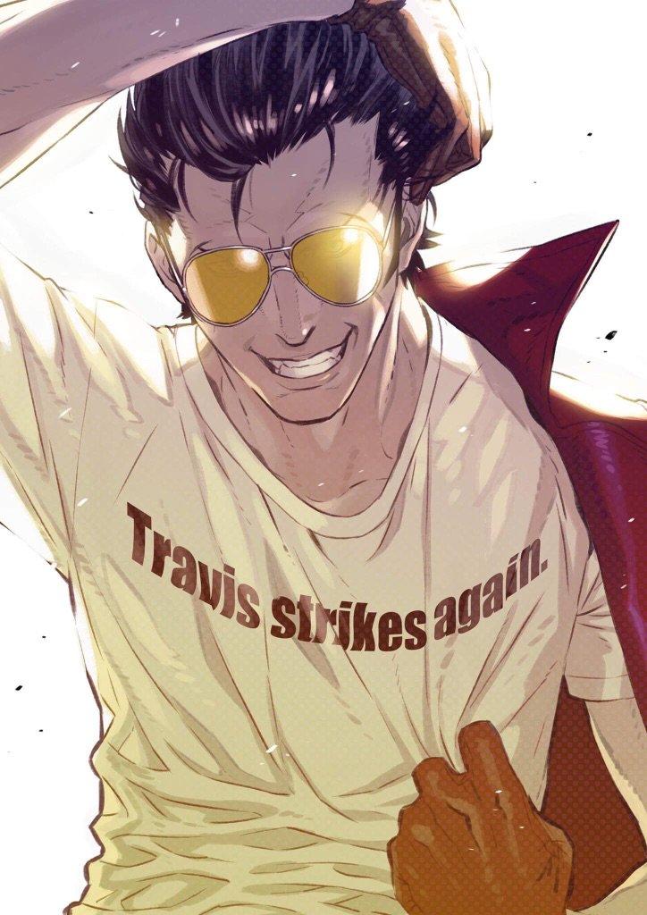 Travis Strikes Again のイラストは、コザキユースケさんに描いてもらいました。コザキさん、ありがとうございます! RT @kymg: もんの凄い久しぶりにとラヴィス描きました! https://t.co/LxgPuflS7U