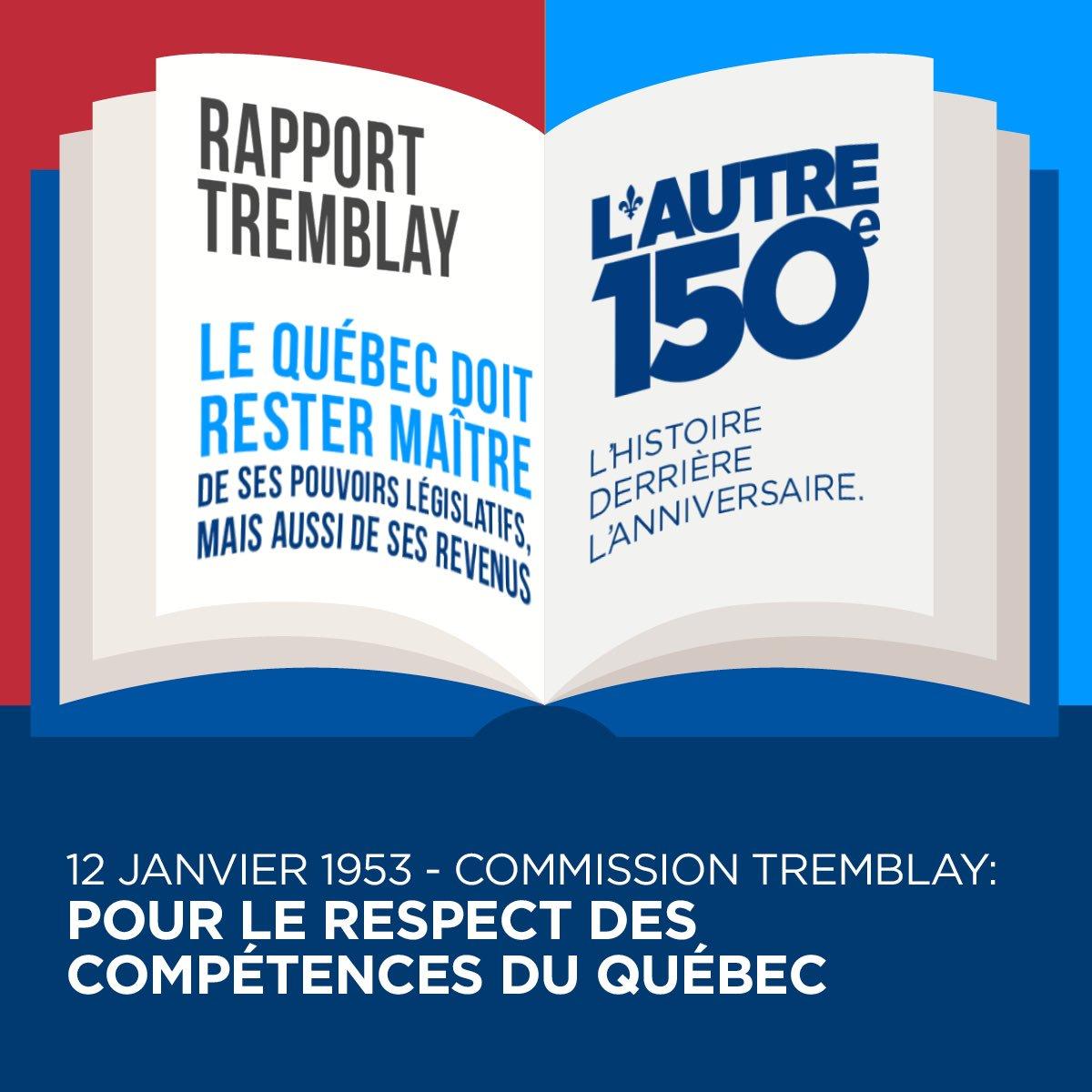 En 1953, le Québec a dû mettre sur pied une commission d'enquête pour ralentir la centralisation fédérale #Canada150  #PolQc #Autre150e <br>http://pic.twitter.com/oODm9fO6Y6