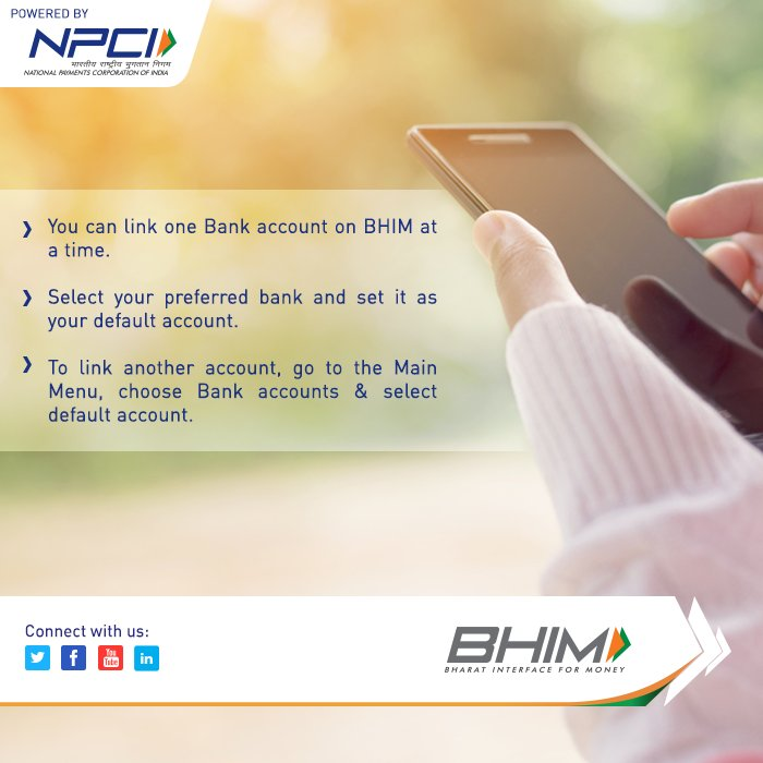 You can use only one bank account at a time, with the BHIM app. #DownloadNow:  https:// bit.ly/BHIMapp  &nbsp;   #BHIMapp #BHIM<br>http://pic.twitter.com/eZVaMh57l0