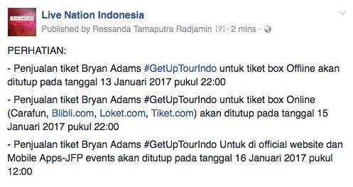 PERHATIAN: Batas waktu penjualan tiket #BryanAdams #getuptourindo di tiket box offline dan online https://t.co/7E2HRuTUCY