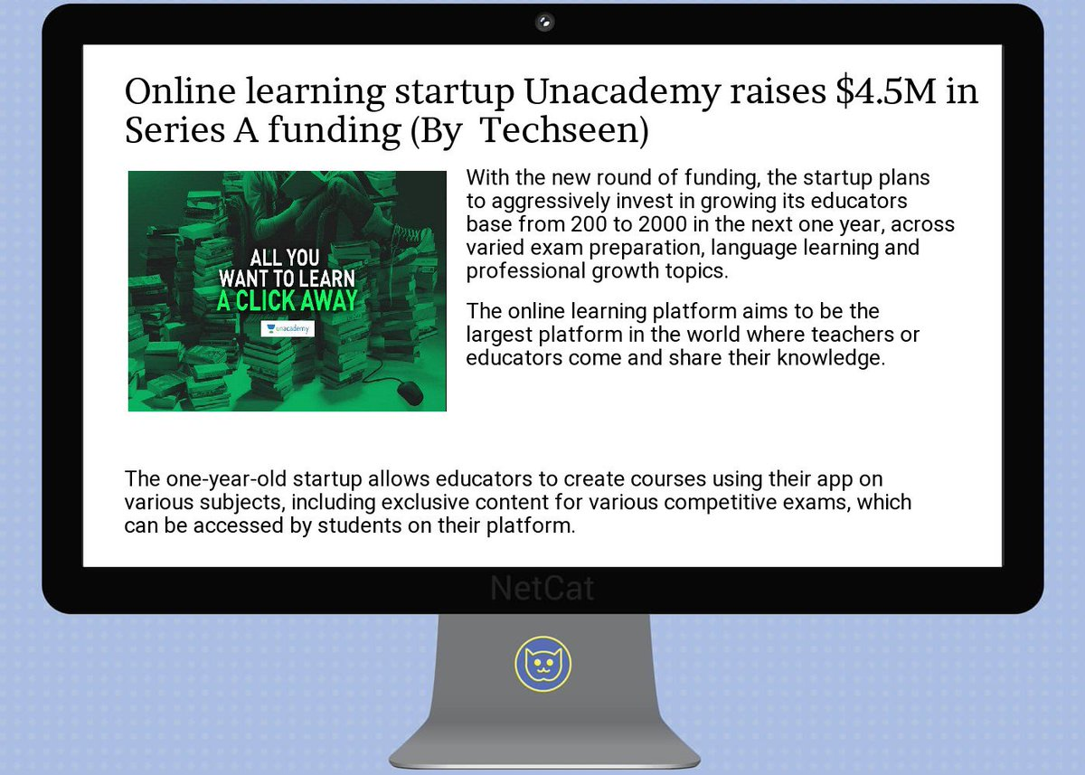 #startup #summary:  #online  #learning  #startup  #unacademy raises $4.5m in  #series a  #funding<br>http://pic.twitter.com/Qytc3lwgkq