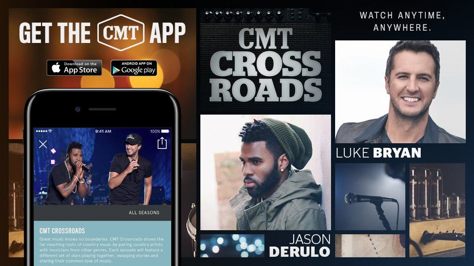 Watch my #CMTcrossroads episode with @jasonderulo on the updated #CMTapp! Get it here:   @CMT