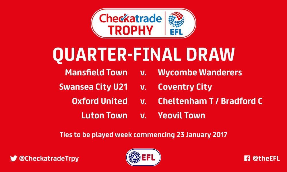 The #CheckatradeTrophy Quarter-Final draw was made yesterday.   Here a...
