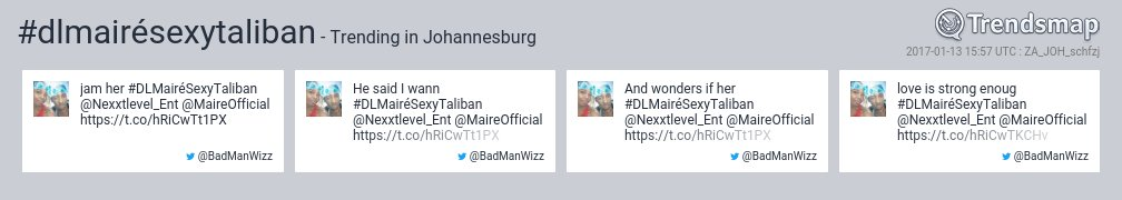 #dlmairésexytaliban is now trending in #Johannesburg  https://t.co/4deGSrN70B https://t.co/VJO3uQnV2k