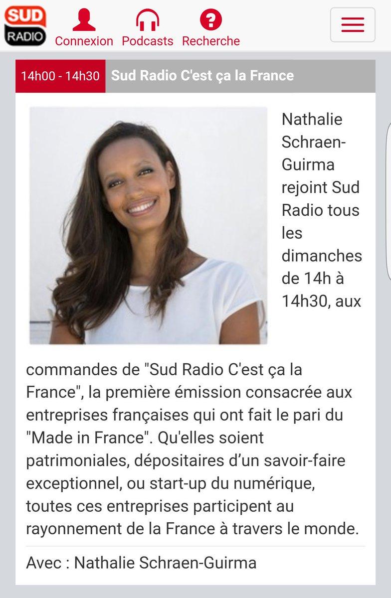 Retrouvez @natschraen le dimanche à 14h @sudradio Nouvelle émission hebdo &quot;C&#39;est ça la France&quot; #madeinfrance #frenchtech #TerroirsProd #CCLF<br>http://pic.twitter.com/pVFoVvdkLm