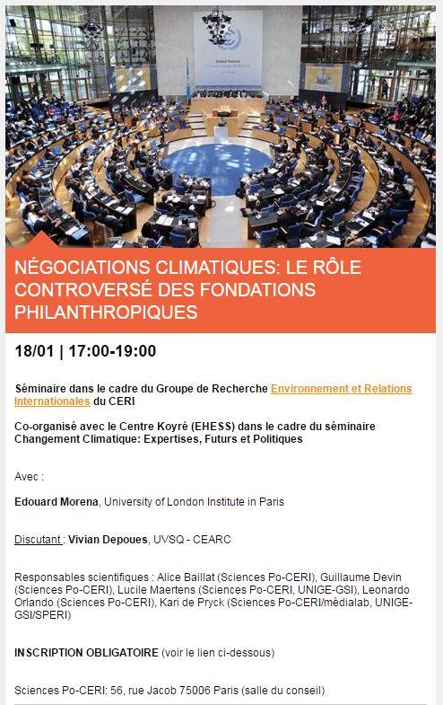 Mercredi 18/01 @vivian_dps de notre équipe discutera les travaux d&#39;E. Morena autour du rôle des fondations dans le #négociations #climat<br>http://pic.twitter.com/VPqDtvPtgi