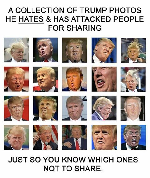 Here are a few more photos of himself that Trump hates. Please do not retweet this or you might hurt his feelings. https://t.co/43e8TN5yzo