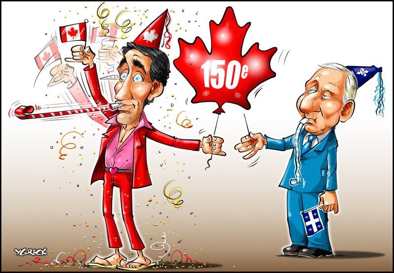 How @ygreck sees the @partiquebecois&#39; #Autre150e #qcpoli #cdnpoli #canada150   Justin&#39;s outfit, though...<br>http://pic.twitter.com/GCyIVzJUUn