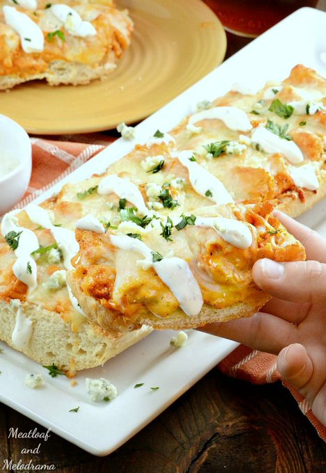 Easy Buffalo Chicken French Bread Pizza