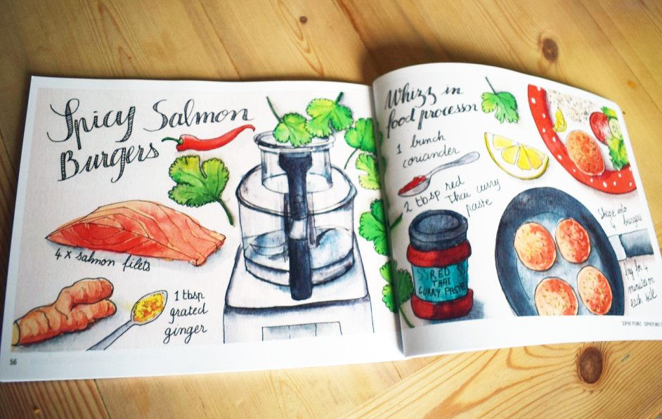 Sophie peanut on twitter my spicy salmon burgers recipe in get spicy salmon burgers recipe in get spicy a hot new recipe book by theydrawandcook httpstfypo5wspfg illustration food httpstwvmxaxzm7f forumfinder Images