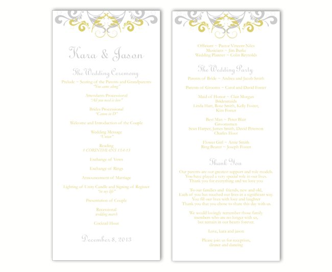 Wedding Program Template DIY Editable Word File Instant Download Program Gray Silver Program Gold Program Printable Wedding Program 4x9.25