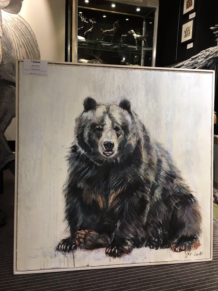 Un autre ours de Julie SALMON &quot;Grosse fatigue&quot;, encaustique sur papier marouflé sur bois. 100 x 100 cm. #Ours #AnimalArtGallery #Bear<br>http://pic.twitter.com/xTIipO6Pnf