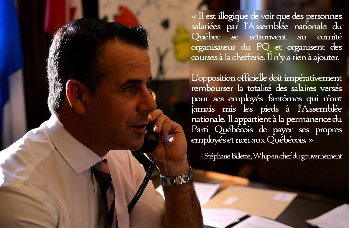 Le Whip en chef du gouvernement, @stephanbillette, dénonce le manque d'éthique et les actions inacceptables du #PQ. #polqc #assnat <br>http://pic.twitter.com/BCpRkvxLnB