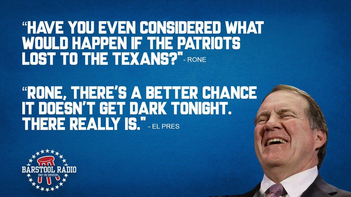 The Patriots aren't losing to the Texans. It's just not gonna happen https://t.co/pn2ToDnfTq