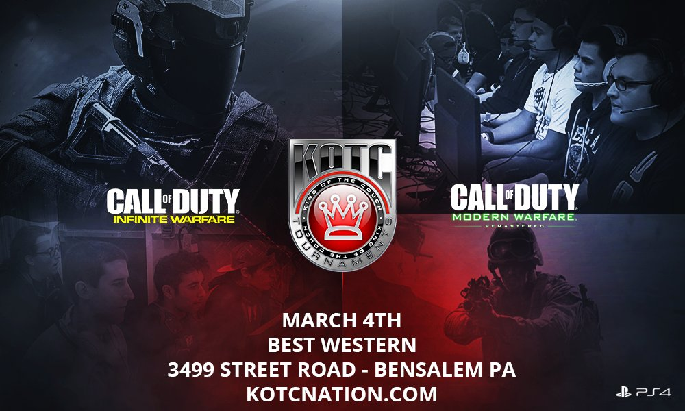 March 4 Call Of Duty Tournament hosted by NJROD COD IW and MWR  (PS4 Only) 2v2 - 4v4  https://t.co/kXFXKN6g1m https://t.co/okVyimVruO