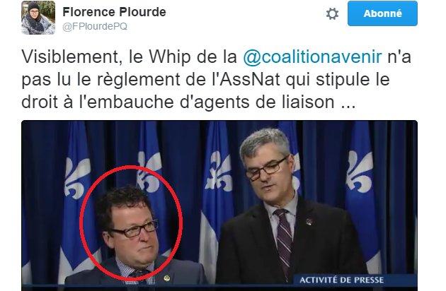Le whip de la #CAQ apprend de la bouche d&#39;un journaliste que les agents de liaisons peuvent être payés par l&#39;#assnat. #BalounePétée #PolQc<br>http://pic.twitter.com/Tcn3z1pbOZ