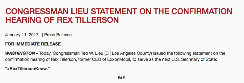 So this may be the best press release I&#39;ve seen in a very long time. Thank you @tedlieu. #RejectRex #RexTillersonKnew<br>http://pic.twitter.com/Q3XGaVVMg6