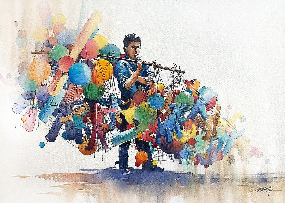 Boy in Blue with Balloons #SanMigueldeAllende #mexico #balloons #Watercolor #thomaswschaller<br>http://pic.twitter.com/yPKWZpMgmV