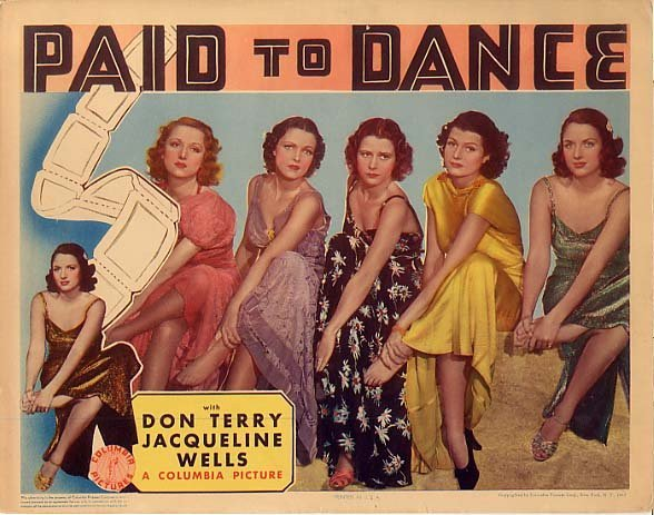 This 1937 taxi dancer thriller was re-released as HARD TO HOLD, with Rita Hayworth (2nd right) upped to top billing. WCBS, January 1957.