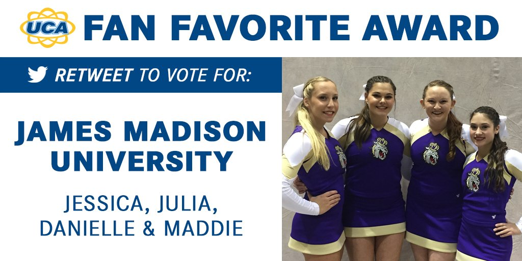 RT to vote NOW for Jessica, Julia, Danielle & Maddie! #UCAnationals
