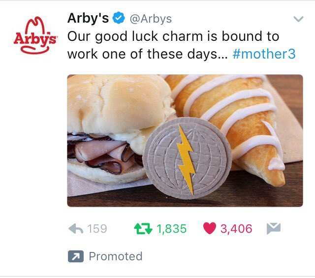 Arby's has spent more money promoting the MOTHER series in 2017 than Nintendo. https://t.co/EyqZ3DILtC