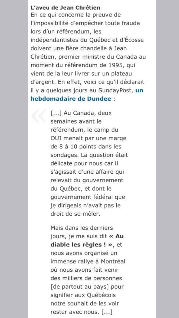 Preuve du vol du référendum de 1995. L&#39;aveu de jean chrétien. La démocratie fut tuée. #polcan #polqc #PQ #Autre150e <br>http://pic.twitter.com/BkcLcIObOu