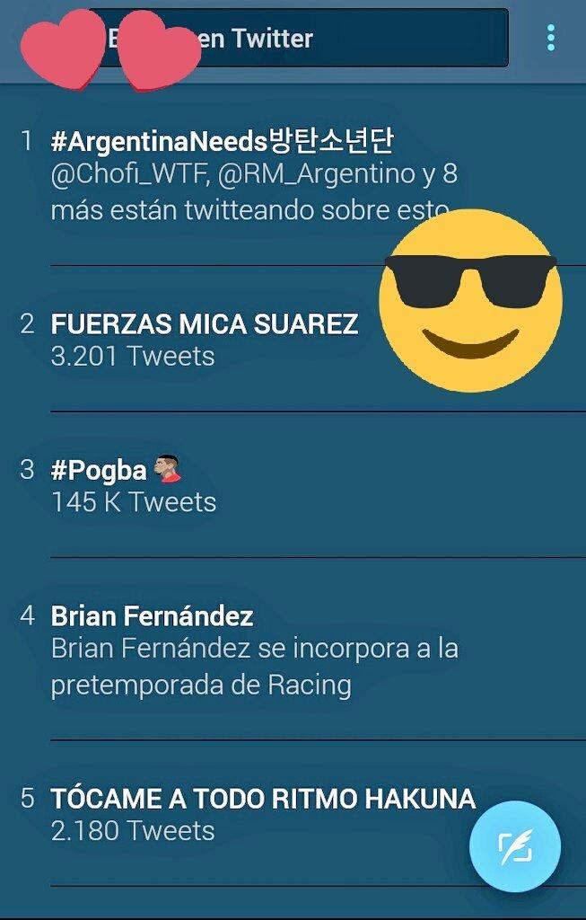 Somos Tendencia #1 @BTS_twt @bts_bighit  #ArgentinaNeeds방탄소년단 #ArgentinaNeedsBTSIn2017 #BTSComeToArgentinaIn2017 <br>http://pic.twitter.com/X9WAQ64XHK