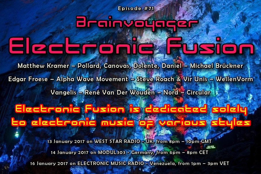 Brainvoyager &amp; Electronic Fusion #71 See flyer for all dates and times Tune in:  https:// brainvoyagermusic.com/broadcast-sche dule/ &nbsp; …  #electronicmusic #Radioshow<br>http://pic.twitter.com/U0H8EjZMvx