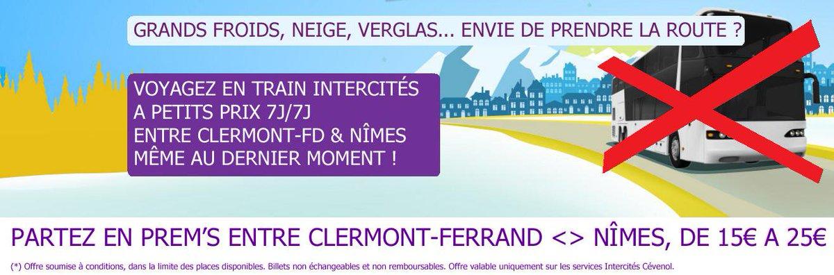 #Clermont-Ferrand &lt;&gt; #Nîmes Grands froids, neige, verglas Voyagez tranquille &amp; à petits prix en #train Intercités 7j/7j #Auvergne #Occitanie<br>http://pic.twitter.com/CcwCXKiUo4
