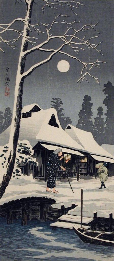 """the winter moon hanging over... back window"" Issa Kobayashi (winter moon, Shotei Takahashi) https://t.co/2XljnihOVI"