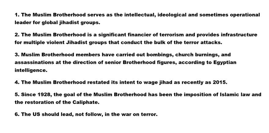 6 reasons why #Trump should designate the #MuslimBrotherhood a terrorist organization...immediately  http:// bit.ly/2hbbgt5  &nbsp;  <br>http://pic.twitter.com/J1LAiRXivm