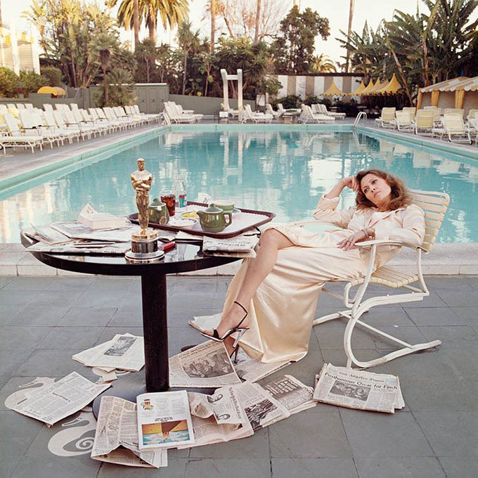 Happy Birthday Faye Dunaway! Here\s one of Terry\s most iconic photos, the morning after Faye\s Oscar win!