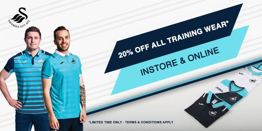 Treat yourself with 20% off #Swans Training Wear. Available in stores...