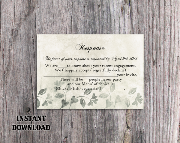 DIY Rustic Wedding Details Card Template Editable Word File Download Printable Leaf Details Card Gray Silver Details Card Enclosure Card