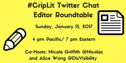 TODAY, 7 pm Eastern: #CripLit Editor Roundtable w/ guest hosts @wordgathering @AbilityMaine & others! https://t.co/brKv5qJBas https://t.co/HiqedxxIy2