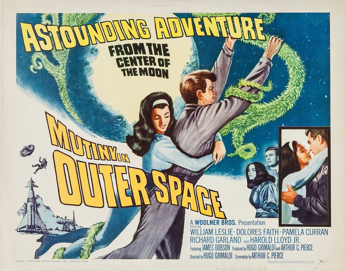 Half-sheet poster for the 1965 #scifi chiller MUTINY IN OUTER SPACE.