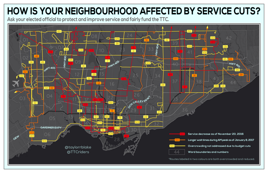 How is your neighbourhood affected by #TTC service cuts? | via @ttcriders https://t.co/JnuKxArZhQ https://t.co/aFG2edQ31c
