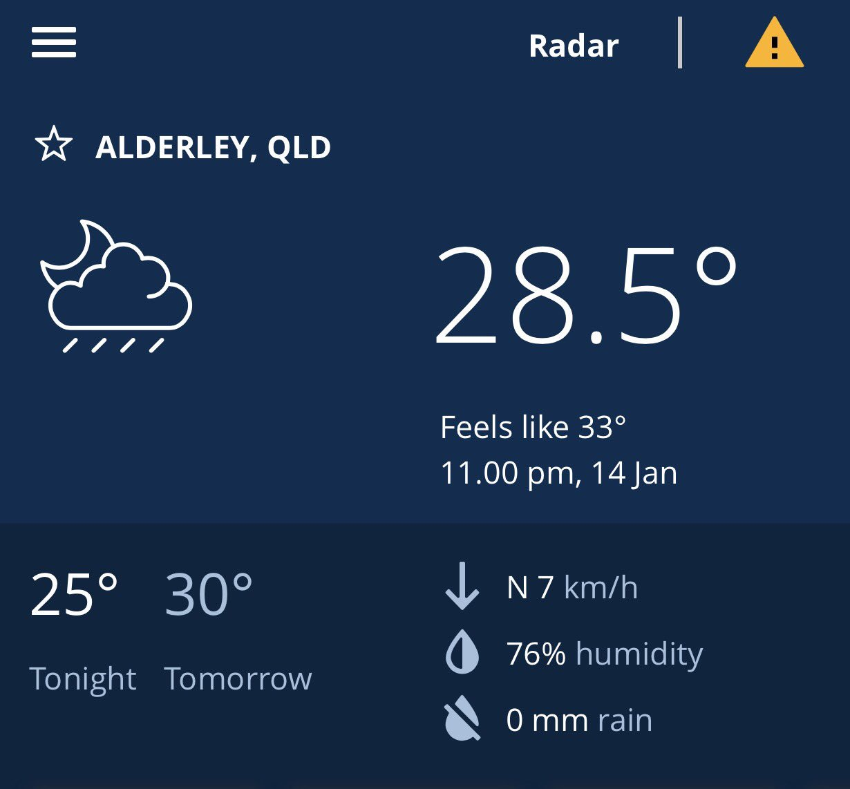 That can't be (just isn't) right... 28 degrees but feels like 33 degrees at 11 o'clock at night in #Brisbane #melting #heatwave #summer https://t.co/1YPrD28zlL