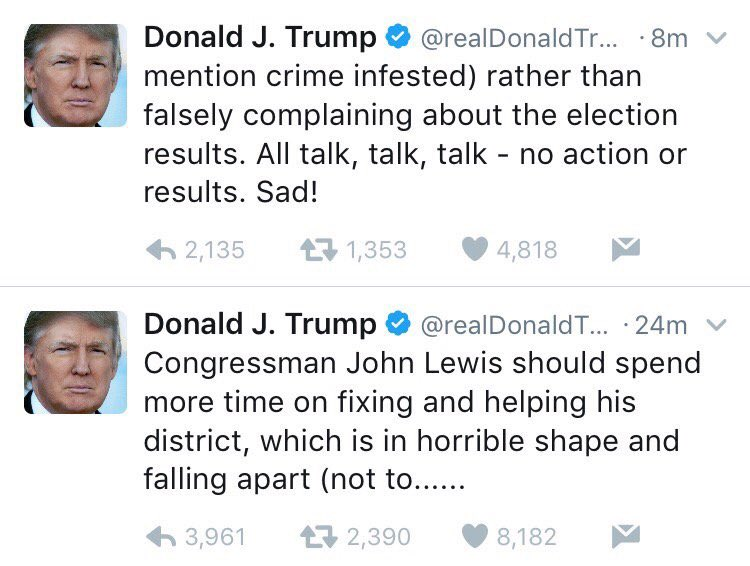 John Lewis is a civil rights hero. Donald Trump refused to rent to black people. #IStandWithJohnLewis https://t.co/8zwo3Rzz7J