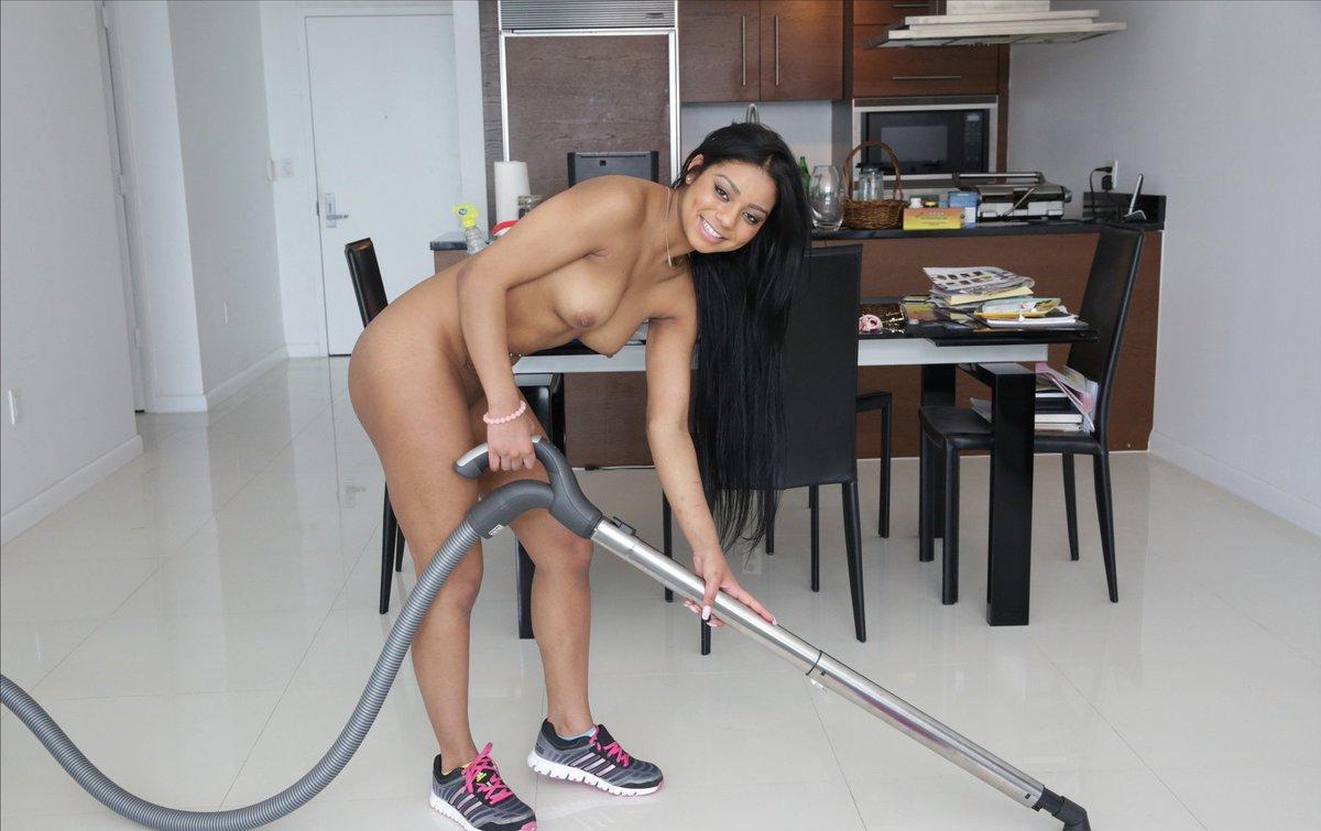 Horny housewife vacuuming nude