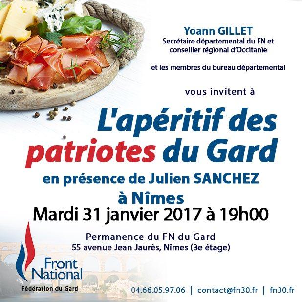 Je vous donne rendez-vous le mardi 31 janvier à 19h pour un apéritif convivial, en présence de @jsanchez_fn.  #FN #Nîmes #Gard<br>http://pic.twitter.com/MOdIrGEoKt