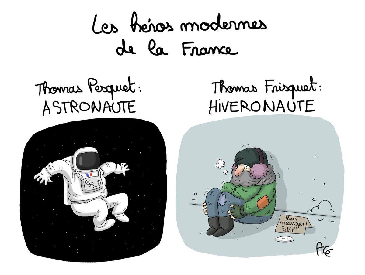 Fait froid... pour la France d&#39;en haut comme pour celle d&#39;en bas  #thomaspesquet #froid #esa #sansabris #dessin #hiver #climat<br>http://pic.twitter.com/cRfqeMTYBm