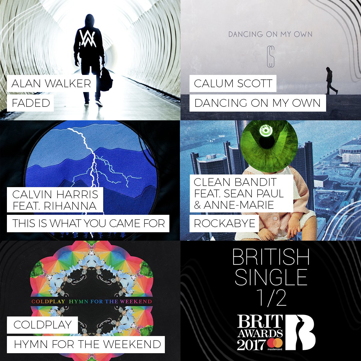 #BRITs 2017 British Single nominees 1/3: @IAmAlanWalker, @CalumScott, @CalvinHarris ft. @Rihanna...
