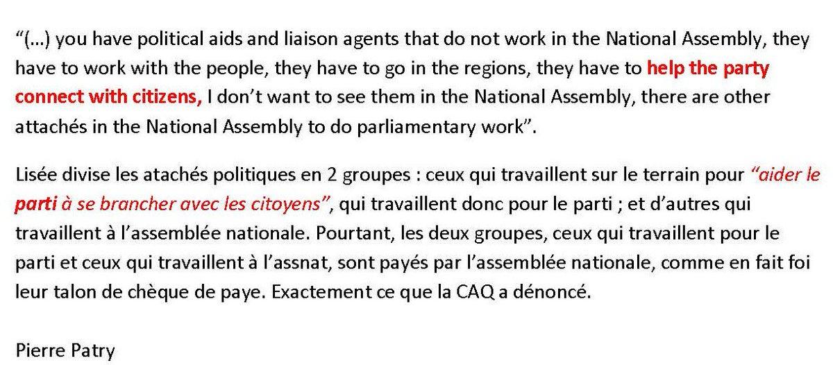@JacquesMartel9  À la 28e min en angl @JFLisee admet que les attachés politiques payés par l&#39; #assnat travaillent pour le parti, #PQ #CAQ <br>http://pic.twitter.com/U3dFJXUFUR