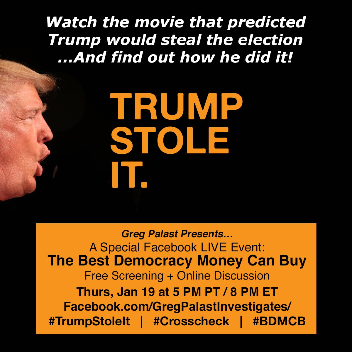 #TrumpStoleIt: Join us on Inauguration Eve for a Special Facebook LIVE event!  https://www. facebook.com/GregPalastInve stigates/videos/10154917384607128/ &nbsp; …  #Trump #ElectionFraud #TheResistance<br>http://pic.twitter.com/JkOQsVas99