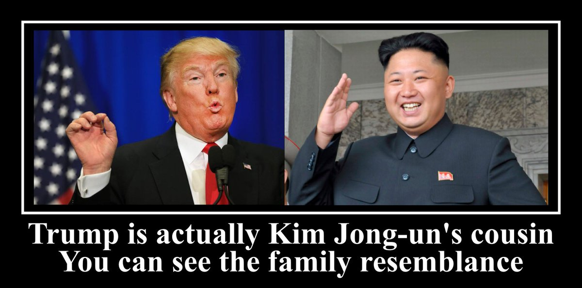 #Trump is actually #KimJongun's cousin. You can see the family resemblance #conspiracy #conspiracytheories https://t.co/mgYqn5GiUv