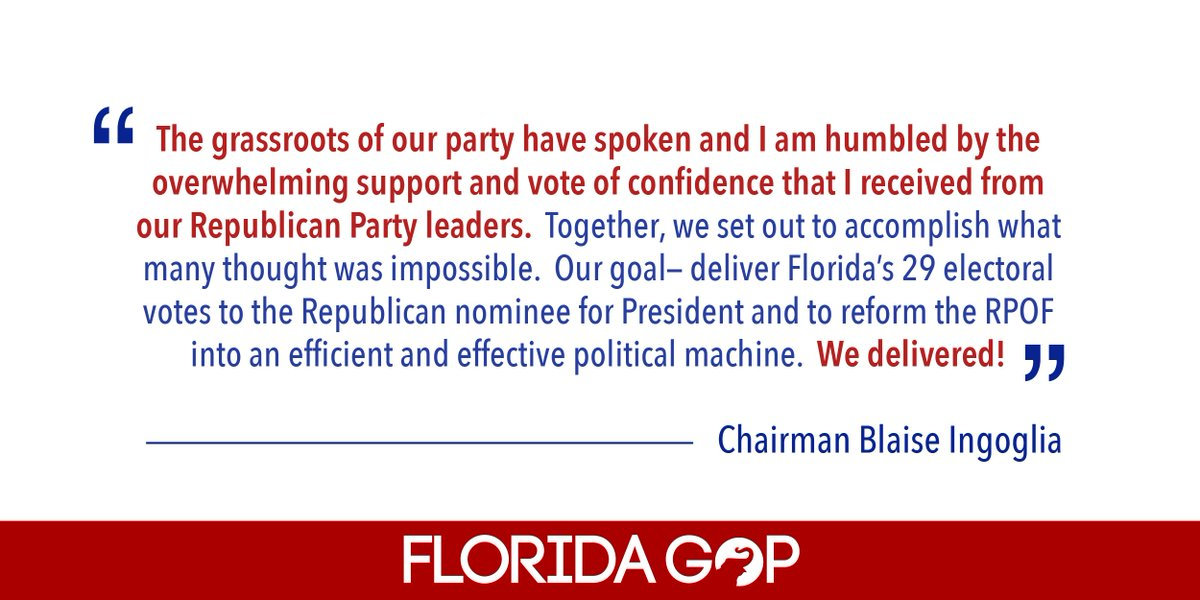 Chairman @BlaiseIngoglia released the following statement on his re-election campaign victory! #sayfie #flapol<br>http://pic.twitter.com/OGrGlTopsh