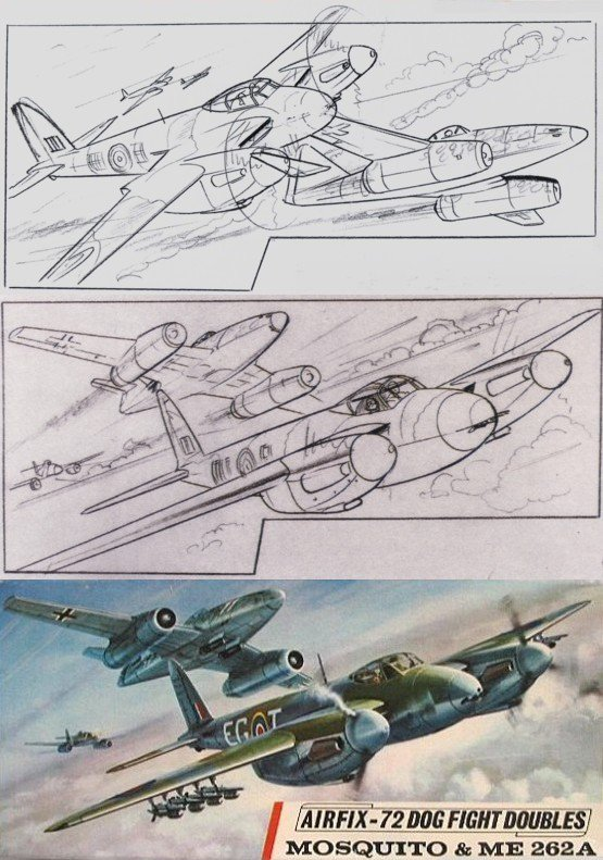 Airfix Dogfight Doubles: Mosquito vs ME 262A. Concept sketches and finished art by Roy Cross (1967) #fighters <br>http://pic.twitter.com/Js77hdssfy