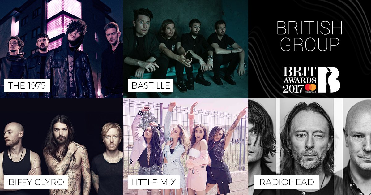 Our #BRITs 2017 British Group nominees are: @the1975, @bastilledan, @B...